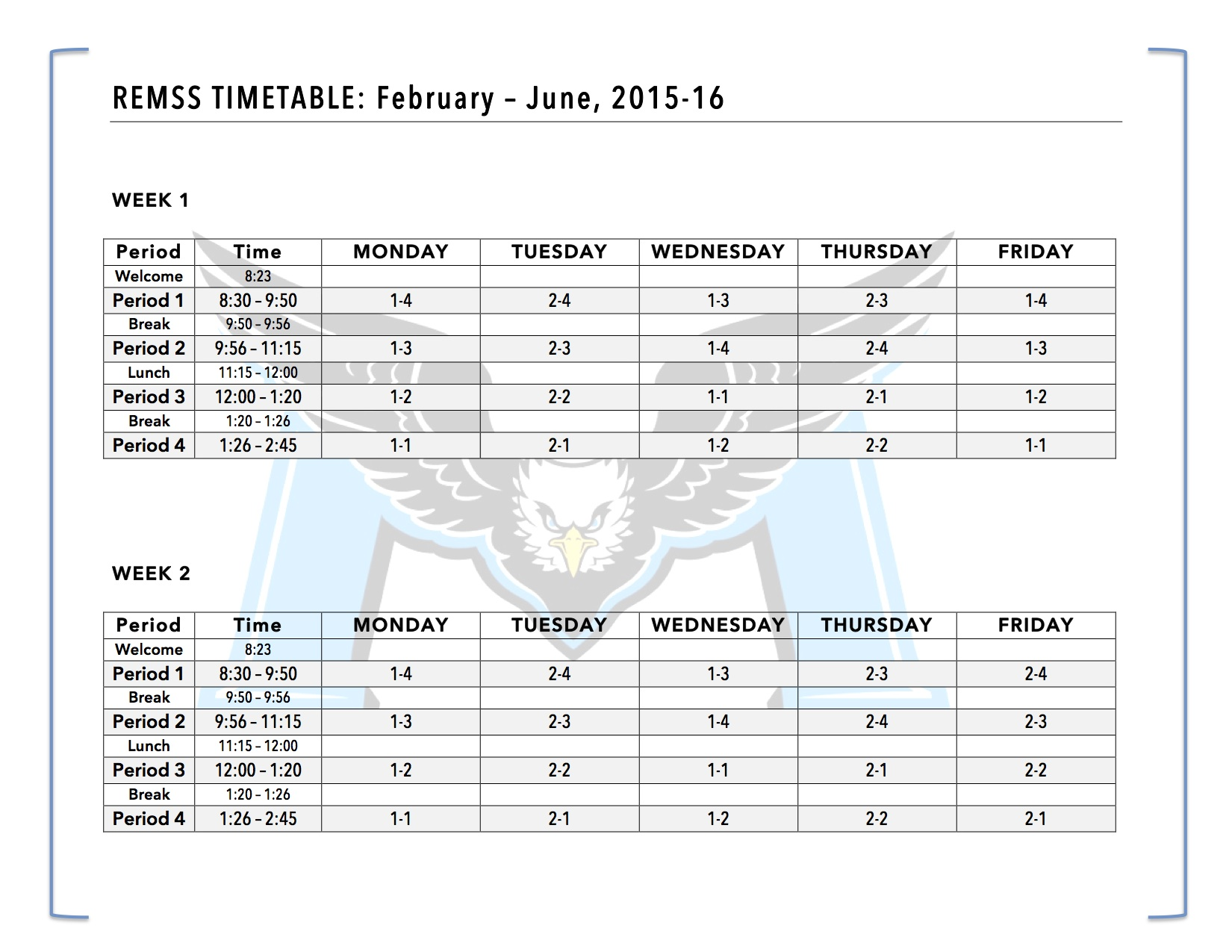 REMSS TIMETABLE February_June 2015